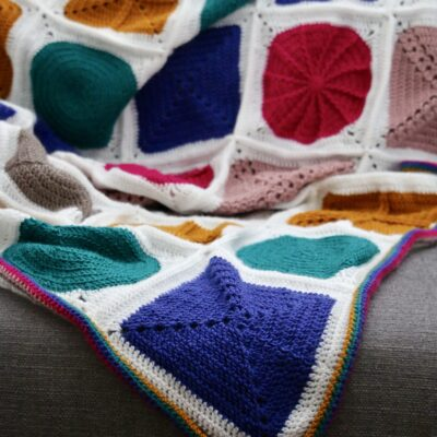 Geo-Boho cal Bright crochet blanket crochet along Cygnet yarns Off the hook for you