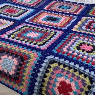 Granny Square crochet pattern, bright blanket.