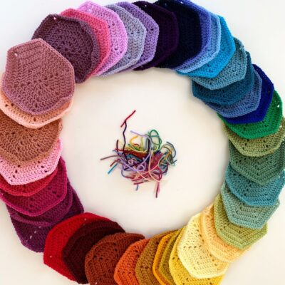 crochet hexagons - how to - USA terms