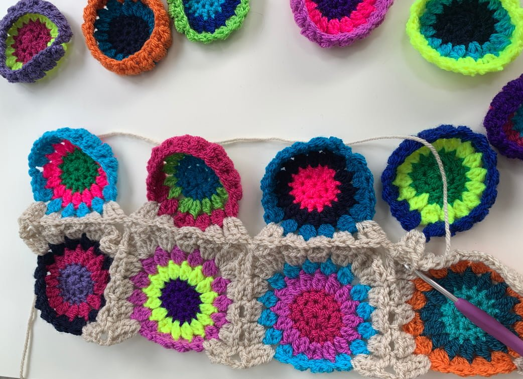 Continuous join as you go starburst granny squares.