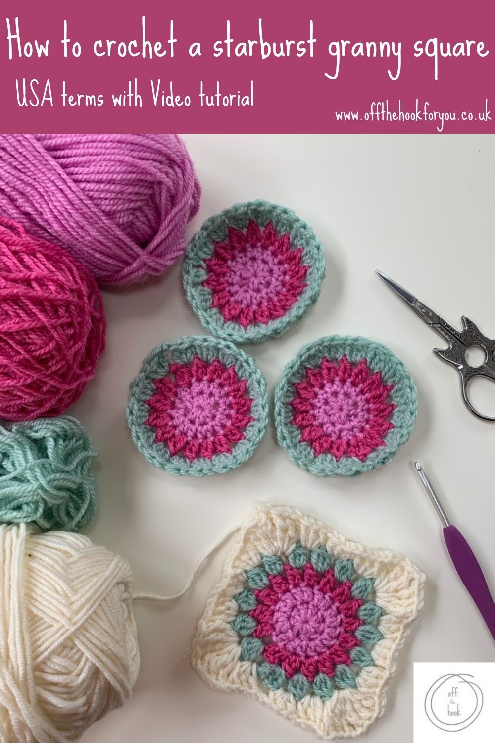 How to crochet a starburst granny square, easy free crochet pattern